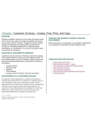 Sample Customer Invoice Template