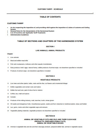 Sample Customs Table of Content