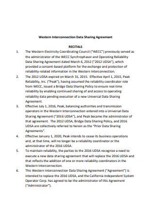 Sample Data Sharing Agreement Example