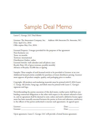 Sample Deal Memo