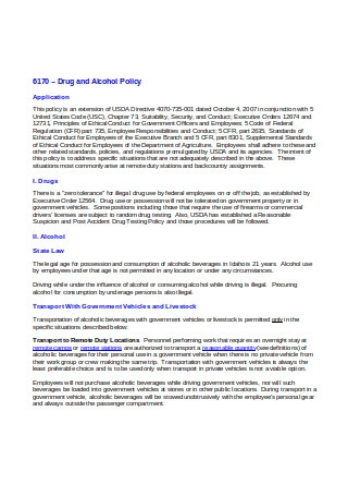 Sample Drug and Alcohol Policy