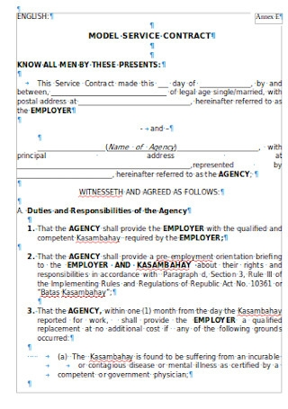 Sample Employer Service Contract