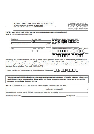 Sample Employment History Information Form