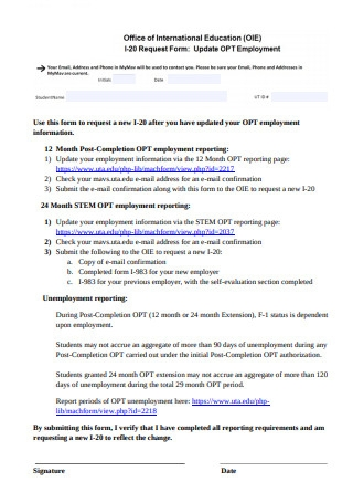 Sample Employment Information Request Form