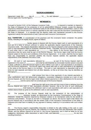 Sample Escrow Agreement