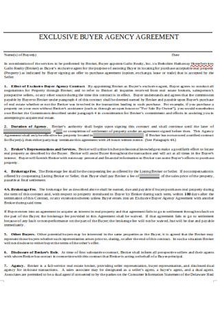 Sample Exclusive Buyer Agency Agreement
