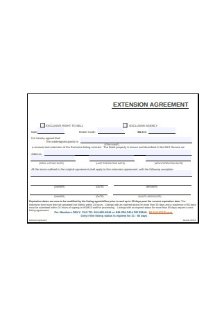 Sample Extension Agreement
