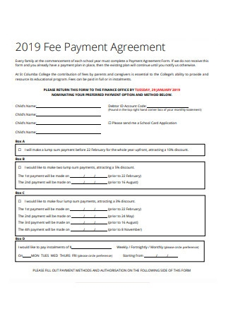 Sample Fee Payment Agreement Form