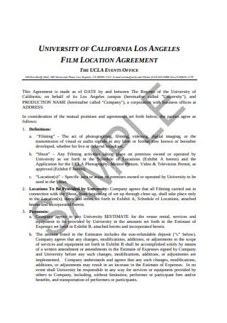 Sample Film Location Agreement