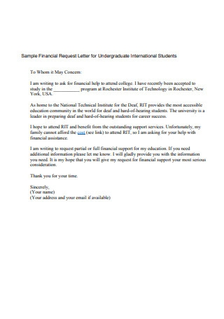 Sample Financial Request Letter