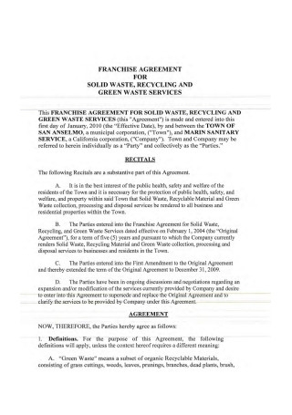 Sample Franchise Agreement Example