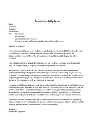 Sample Hardship Letter in PDF