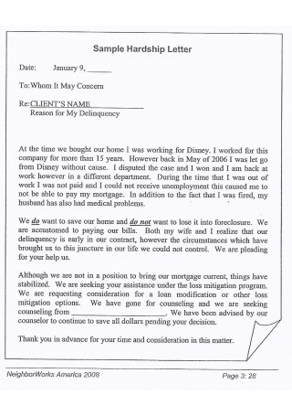 Sample Hardship Letter in PDF1