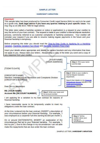 Sample Hardship Variation Letter