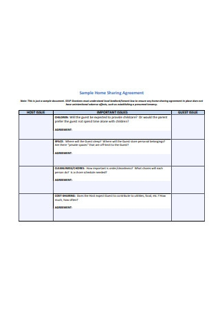 Sample Home Sharing Agreement