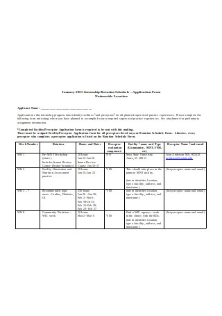 Sample Internship Rotation Schedule