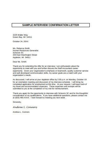 Sample Interview Confirmation Letter