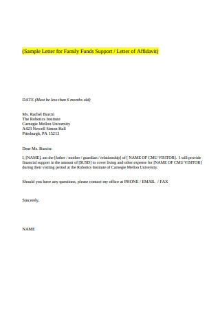Sample Letter for Funds Support