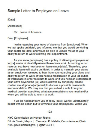 Sample Letter to Employee on Leave