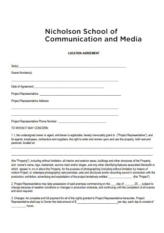 Sample Location Agreement Form