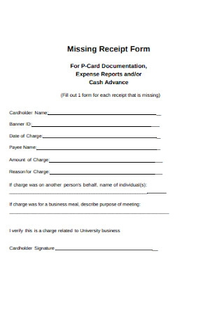 Sample Missing Receipt Form