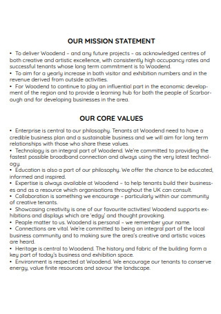 Sample Mission Statement and Core Values