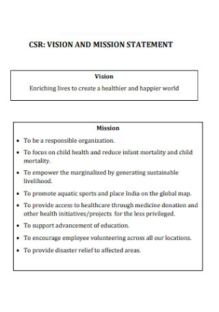 Sample Mission and Vision Statement