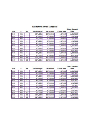 Sample Monthly Payroll Schedule