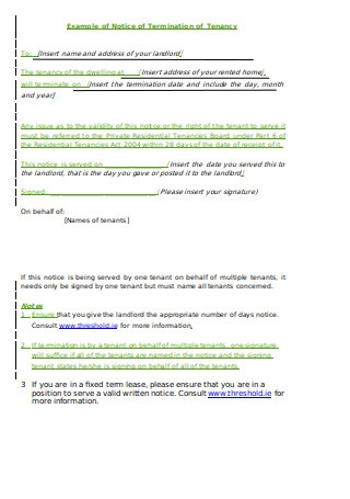 Sample Notice of Termination by Tenant