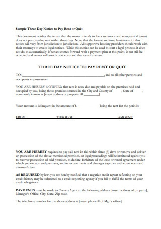 Sample Notices Regarding Failure to Pay Rent