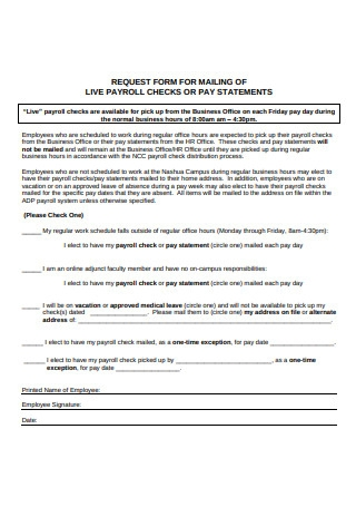 Sample Payroll Check Request Form