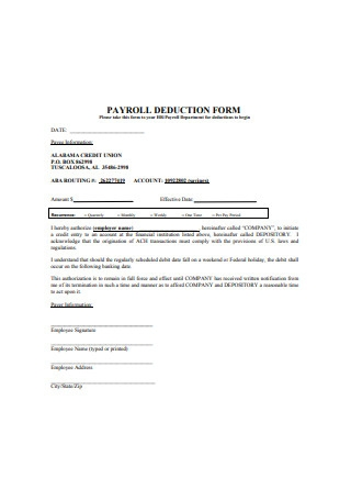 Sample Payroll Deduction Form Example