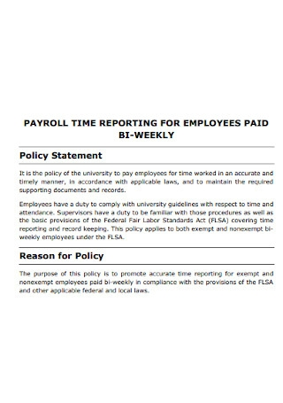 Sample Payroll Policy Statement