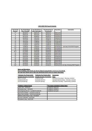 Sample Payroll Schedule Example