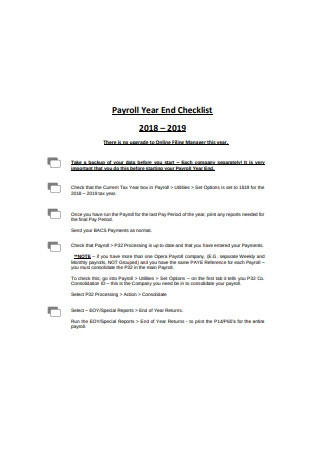 Sample Payroll Year End Checklist