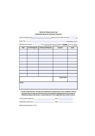 Sample Petty Cash Disbursement Log