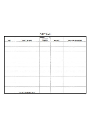 Sample Petty Cash Log Format