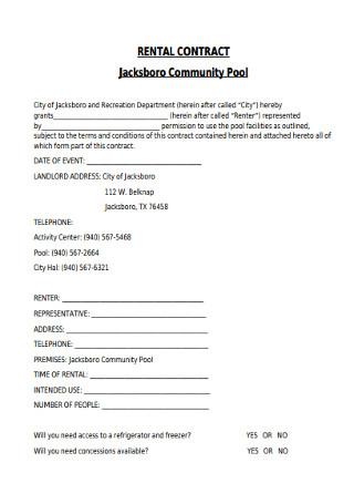 Sample Pool Rental Agreement