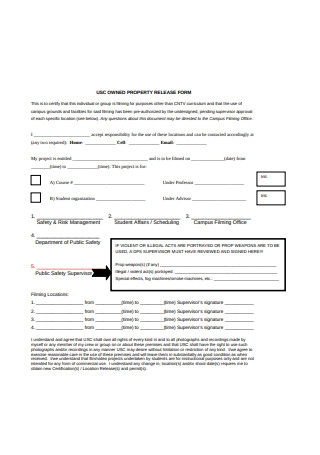 Sample Property Location Release Form