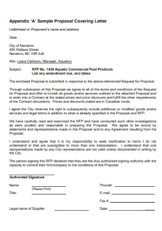 Sample Proposal Covering Letter