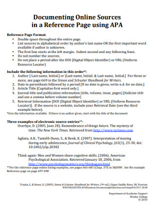 Sample Reference Documenting Page