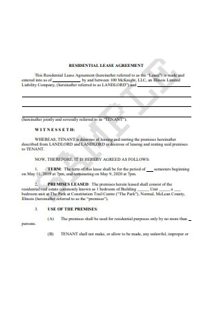 Sample Residential Lease Agreement