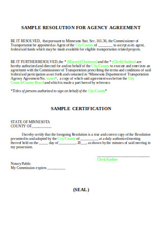 Sample Resolution Agency Agreement