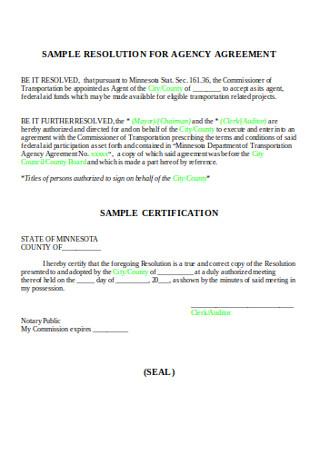 Sample Resolution Agency Agreement
