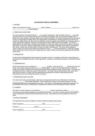Sample Salon Booth Rental Agreement