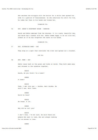 Sample Screenplay and Movie Scripts