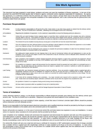 Sample Site Work Agreement