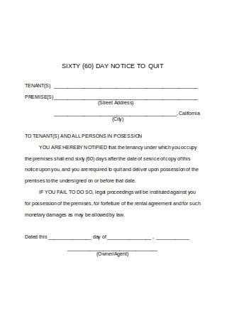 Sample Sixty 60 Day Notice to Quit