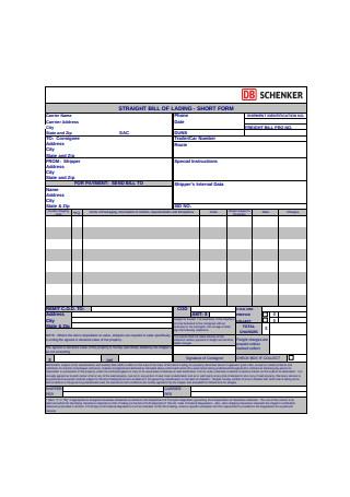 Sample Straight Bill of Lading Short Form