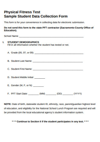 Sample Student Data Collection Form